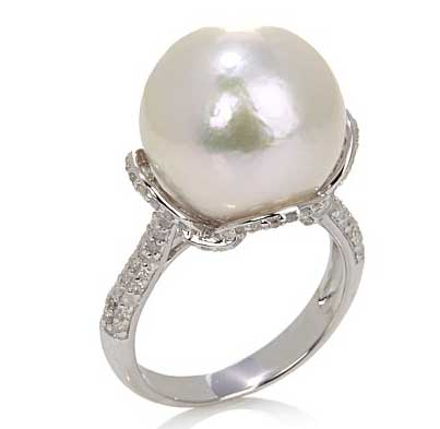 Carol Brodie Windsor Pearl by Imperial and Diamond Silver Ring