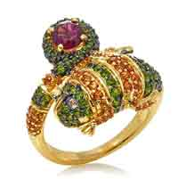 Victoria Wieck 2.16ct Multigemstone Lizard Vermeil Ring