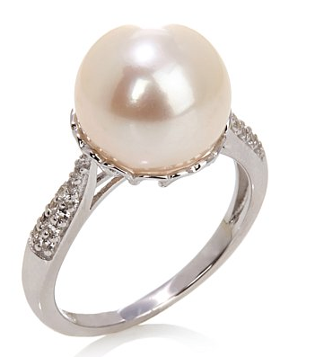Imperial Pearls by Josh Bazar Imperial Pearls 11-12mm Cultured Freshwater Pearl and White Topaz Sterling Silver Heart Ring.png