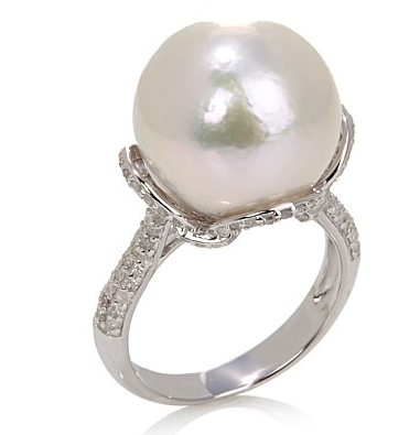 Rarities Fine Jewelry with Carol Brodie Windsor Pearl by Imperial and Diamond Sterling Silver Ring