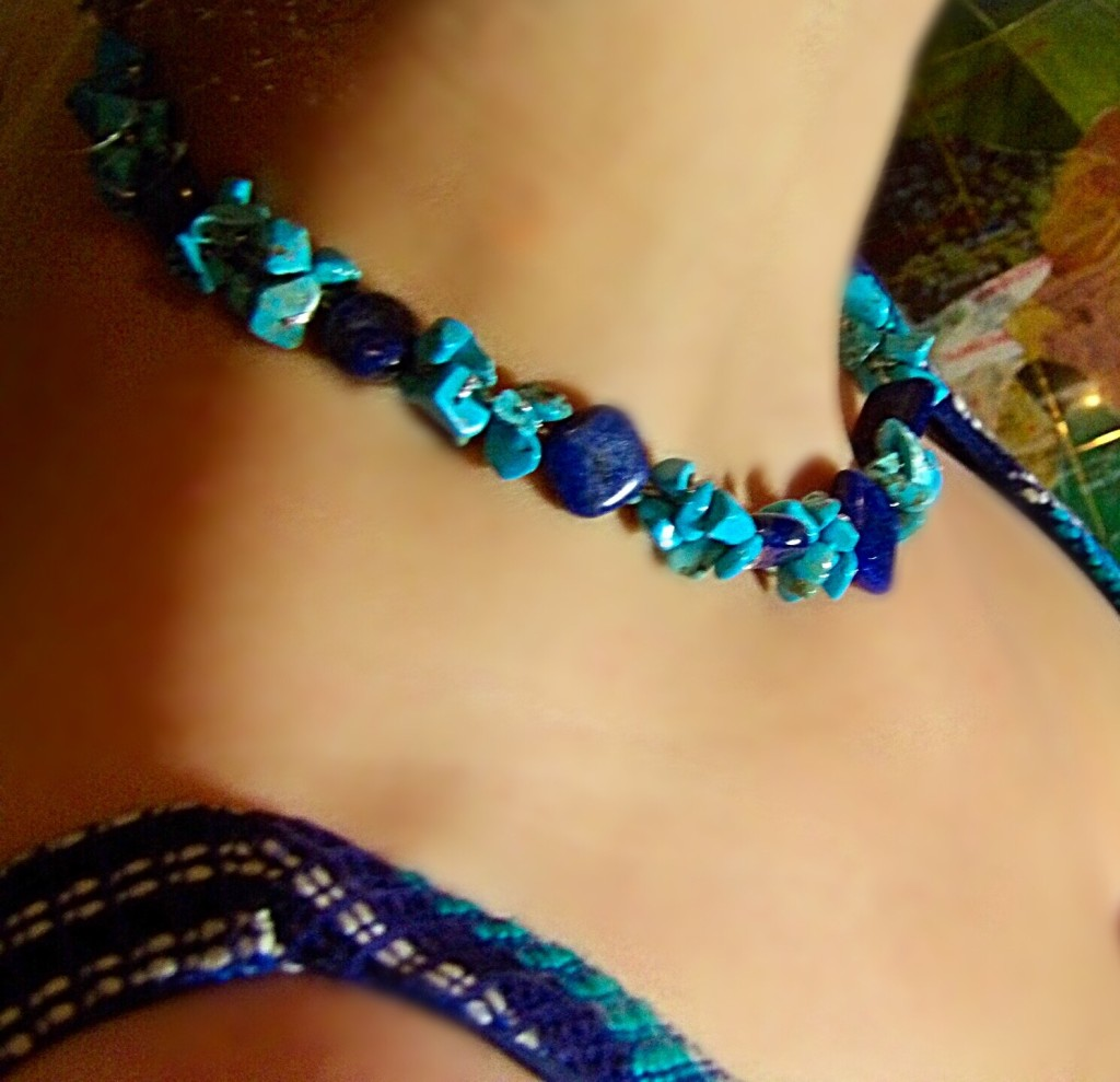 NOVICA Lapis Lazuli and Dyed Blue Calcite Beaded Necklace Blue Muse