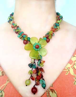 NOVICA Multi-Gemstone Y-Necklace 'Dazzling Flower Bloom'