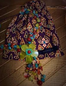 NOVICA Multi-Gemstone Y-Necklace 'Dazzling Flower Bloom' Pouch
