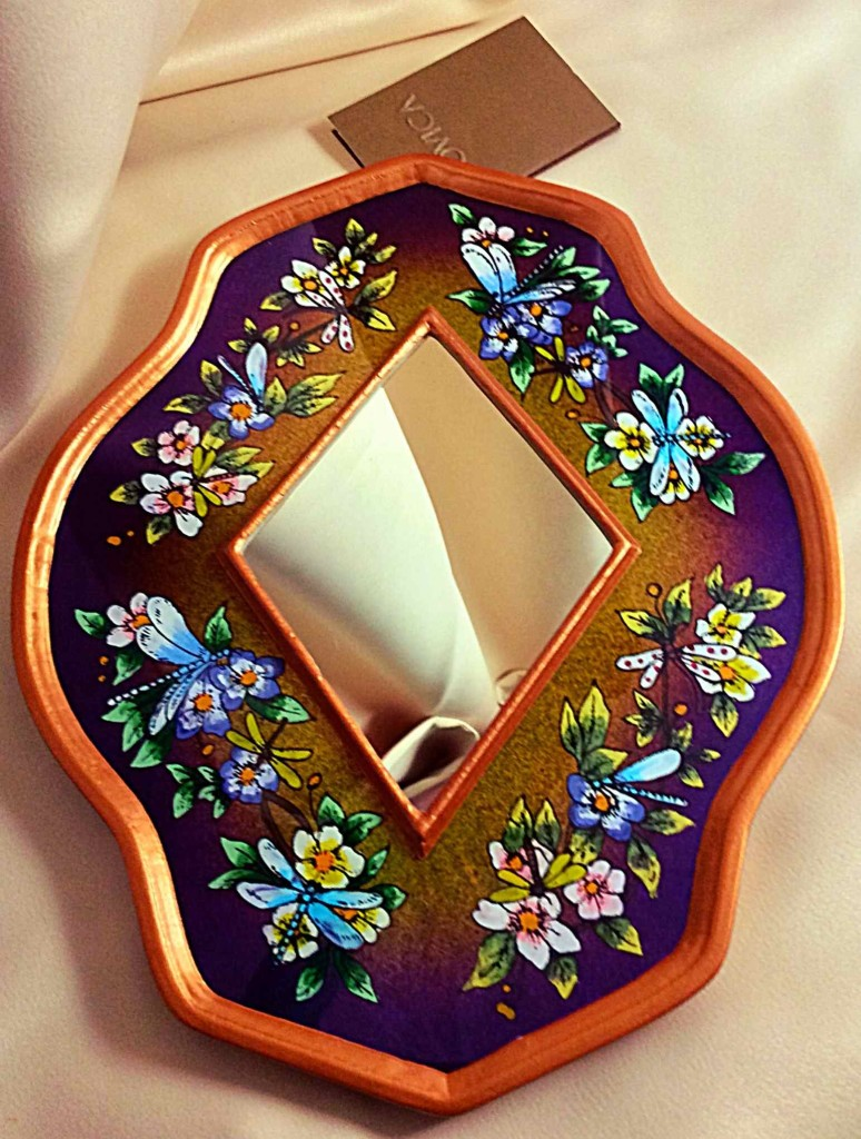 NOVICA Handcrafted Floral Reverse Painted Glass and Wood Framed Wall Mirror, 'Purple Summer Garden'