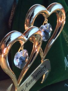 24K Gold Plated Happy Anniversary Inscribed Double Heart Ornament with Crystals by Matashi®