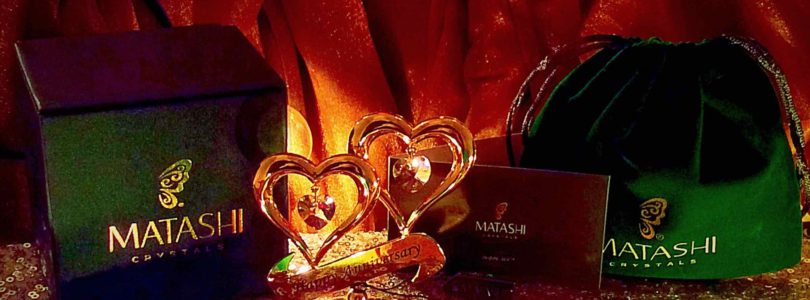 Gifting: 24K Gold Plated Happy Anniversary Inscribed Double Heart Ornament with Crystals by Matashi®