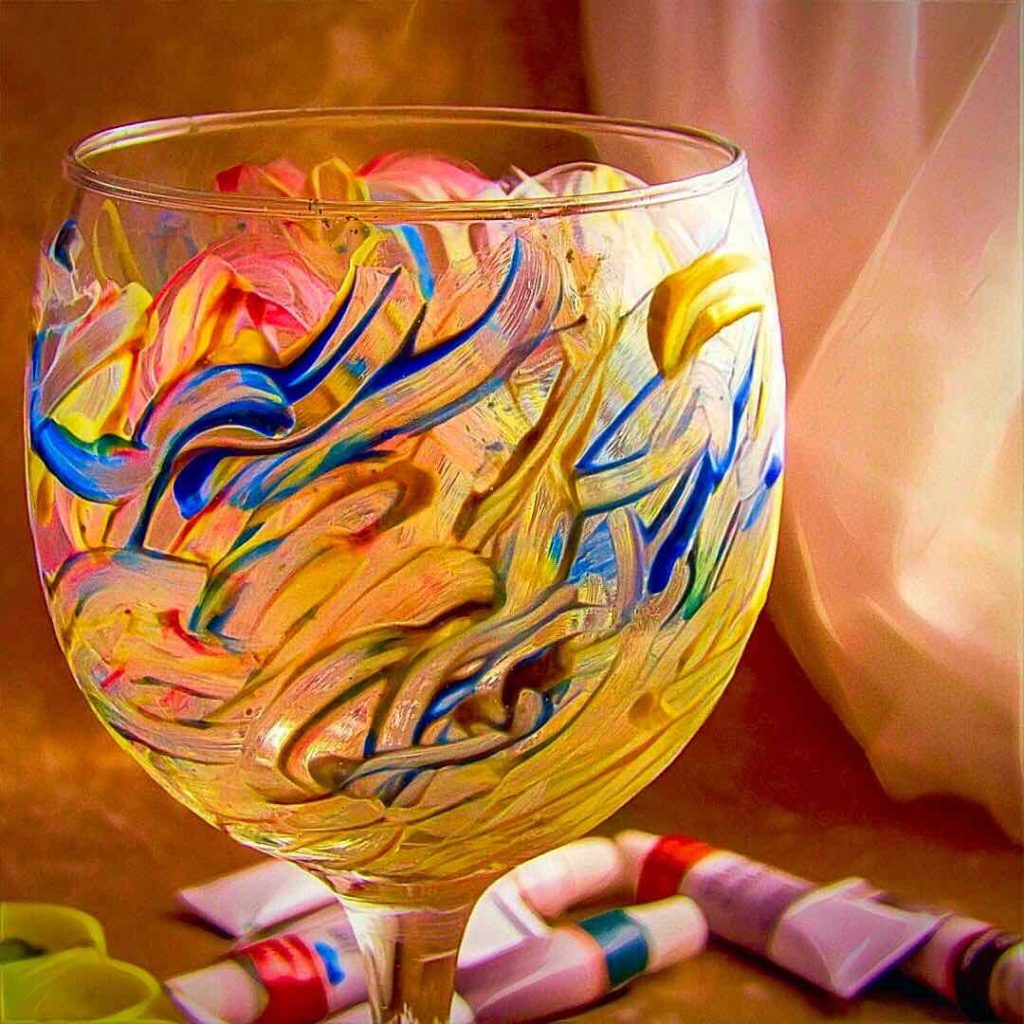 Wine Glass painted with Magicdo® 12 Colors Glass Paint Set