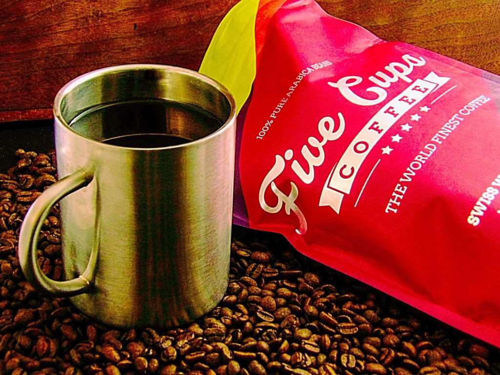 Five Cups Coffee Swiss Water Decaf Whole Bean Arabica Coffee