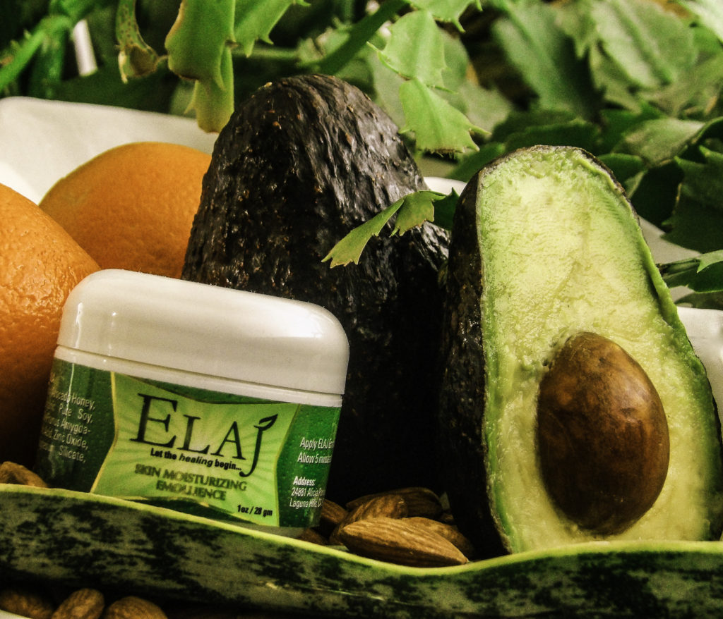 ELAJ all-natural ingredients including Sweet Almond Oil, Vitamin C & Avocado