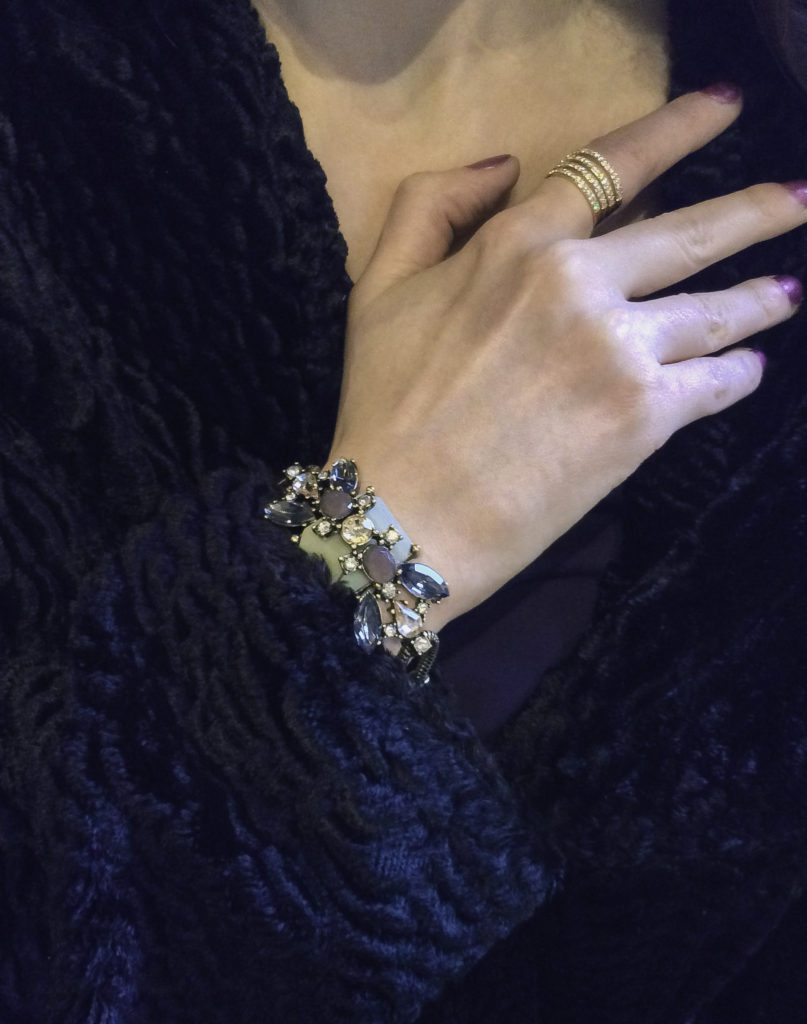 7 Charming Sisters Vintage Beauty Bracelet and Champagne Toast Ring with a Tahari mid-length coat