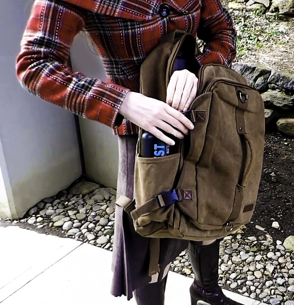 Two Large side pockets hold wine bottles or a daily water intake bottle
