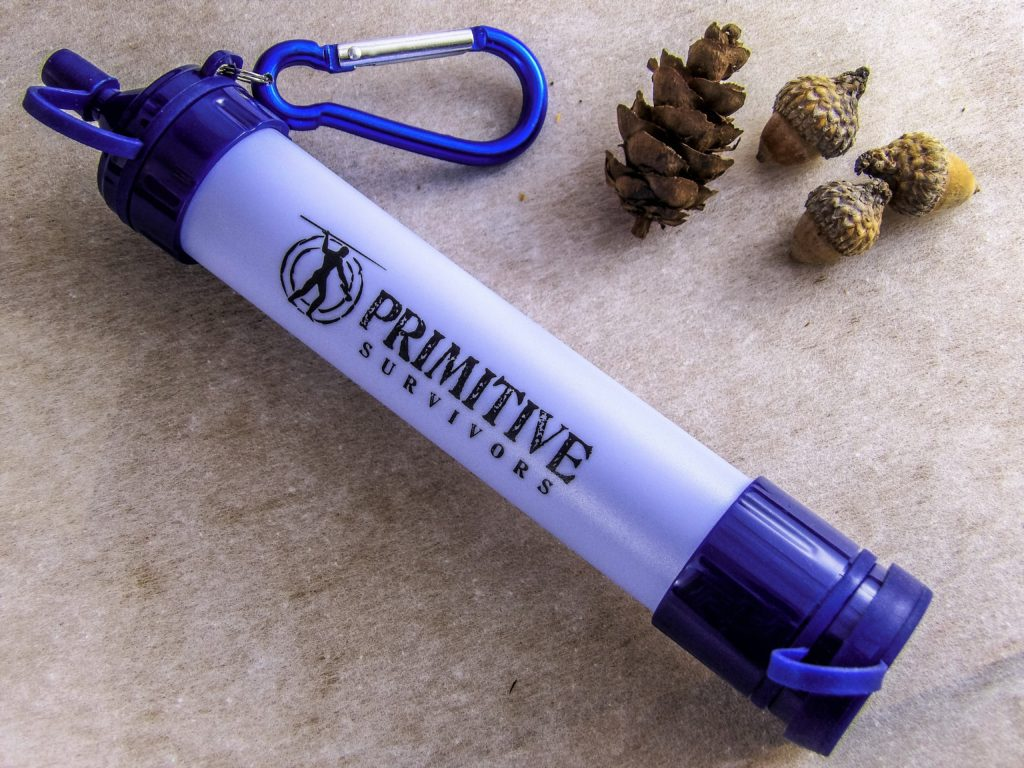 The PRIMITIVE SURVIVORS Survival Filtration Straw ensures fresh drinking water while camping and hiking.