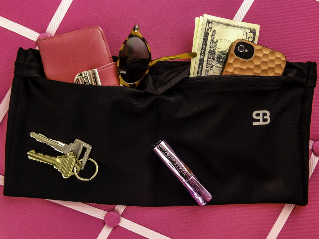 StashBandz holds my wallet, sunglasses, phone, keys, lipstick and cash
