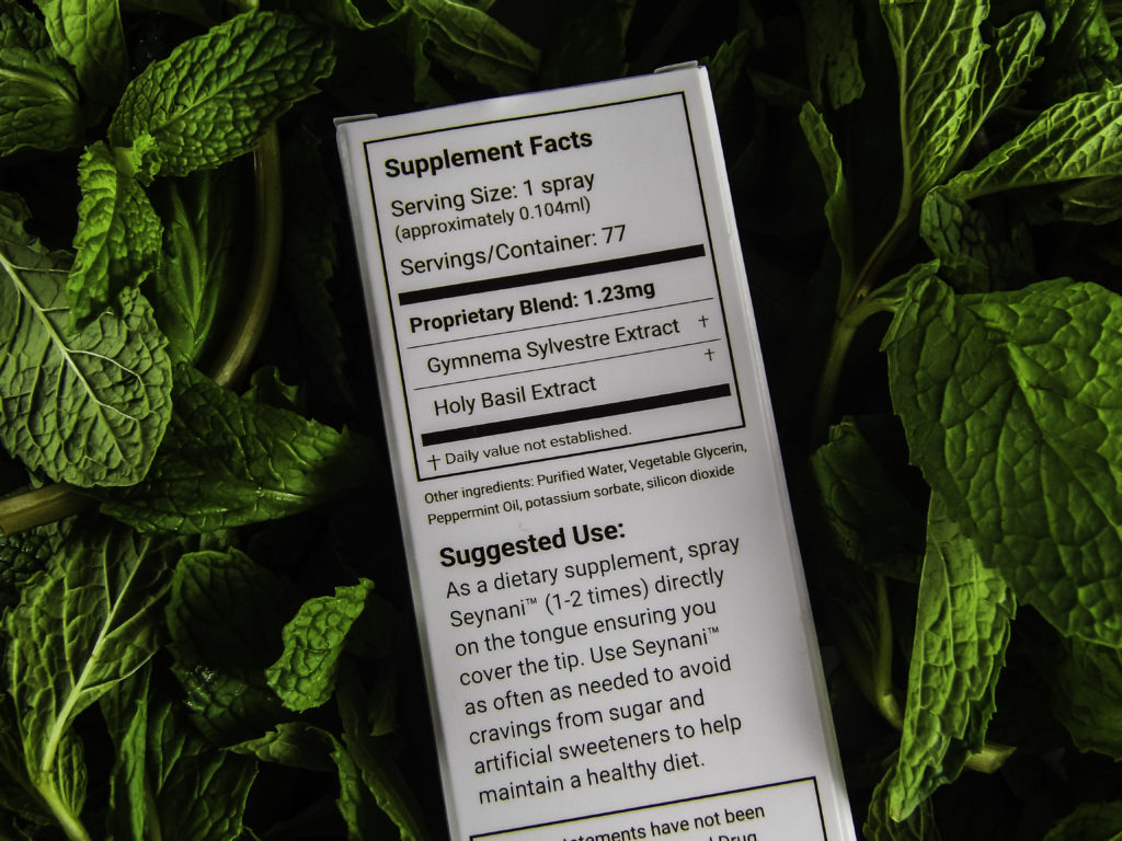 Ingredients include Peppermint and Holy Basil