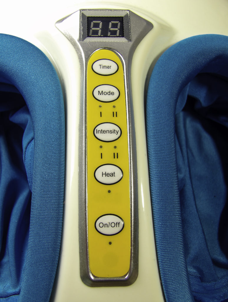 Customize your massage with the Timer, Intensity, Mode, and Heat options on the menu panel.