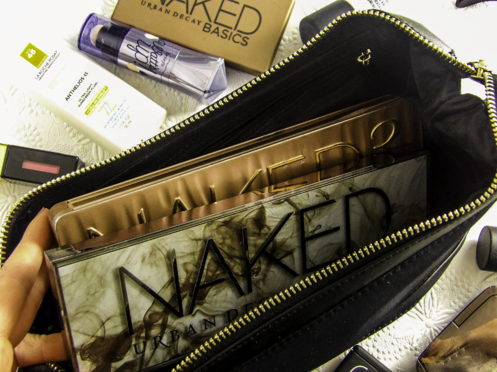 Multiple Urban Decay Naked palletes fit with room to spare for other products