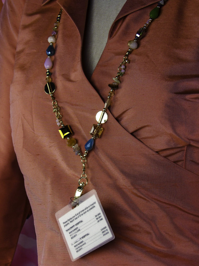 My ID is accessible and clearly visible for work but the Boojee Beads lanyard is not cumbersome to wear