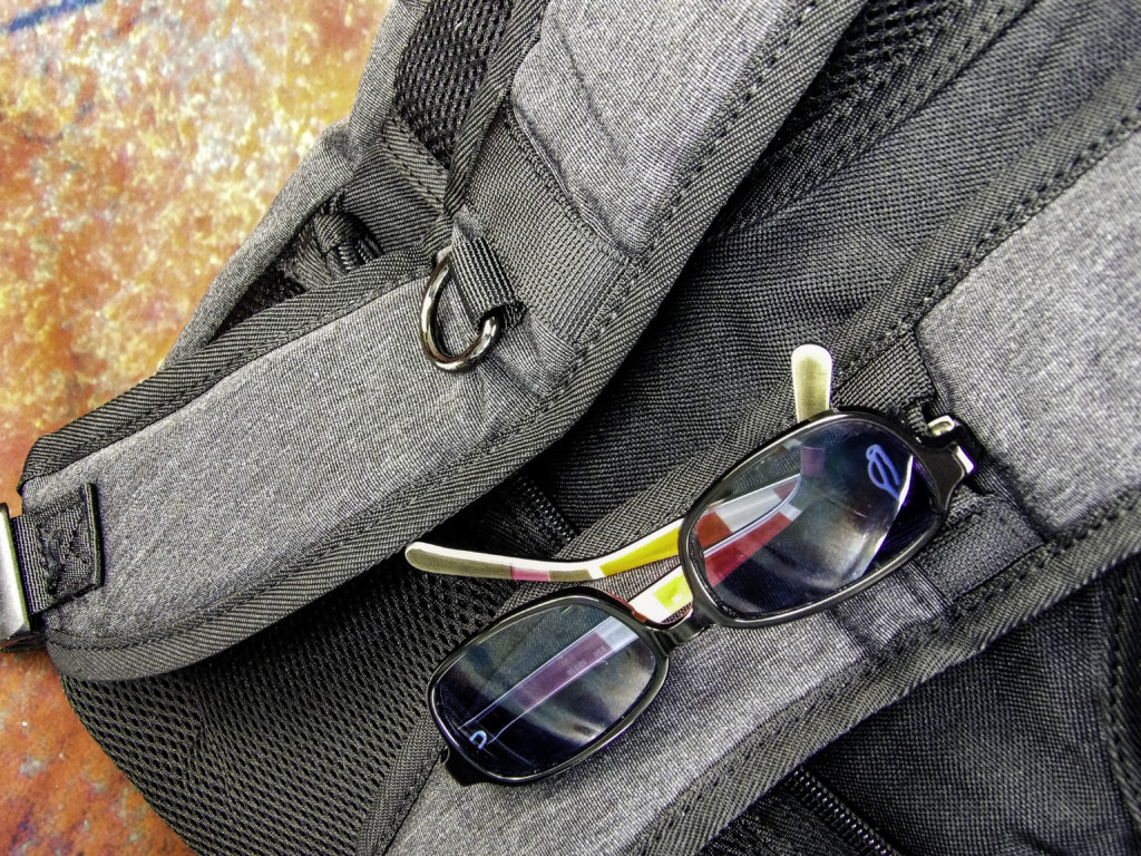Padded shoulder straps with sunglass holder and ring for attachments