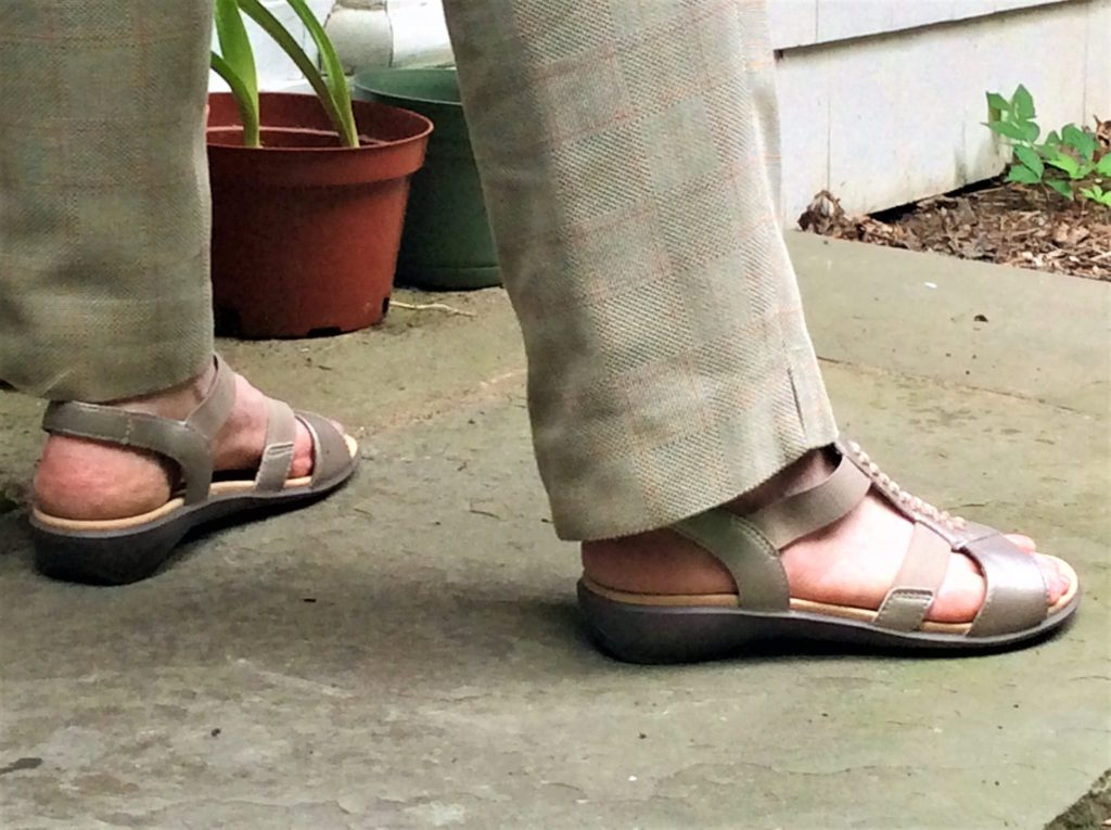 Wearing the Beam Sandals for a day of errands and lunch at a friend's house