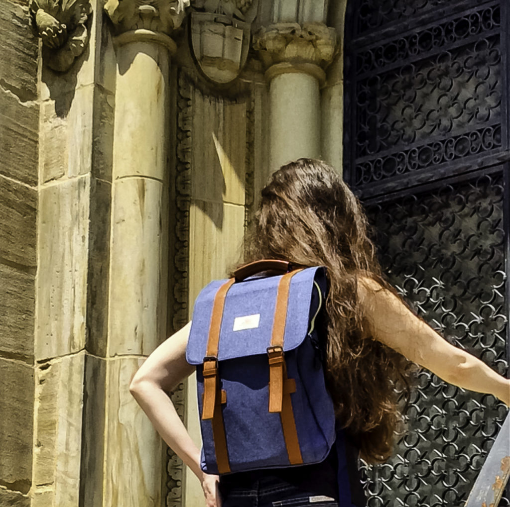 A laptop backpack ideal for securely carrying my laptop and Kindle around campus