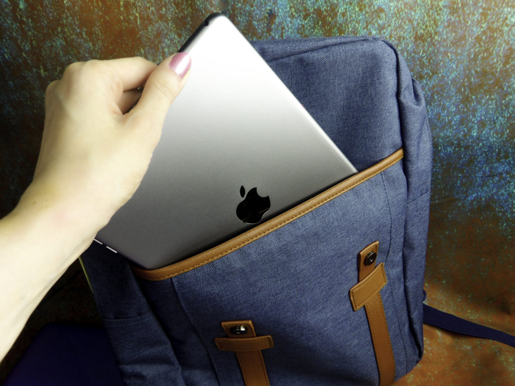 Front pocket can hold a tablet