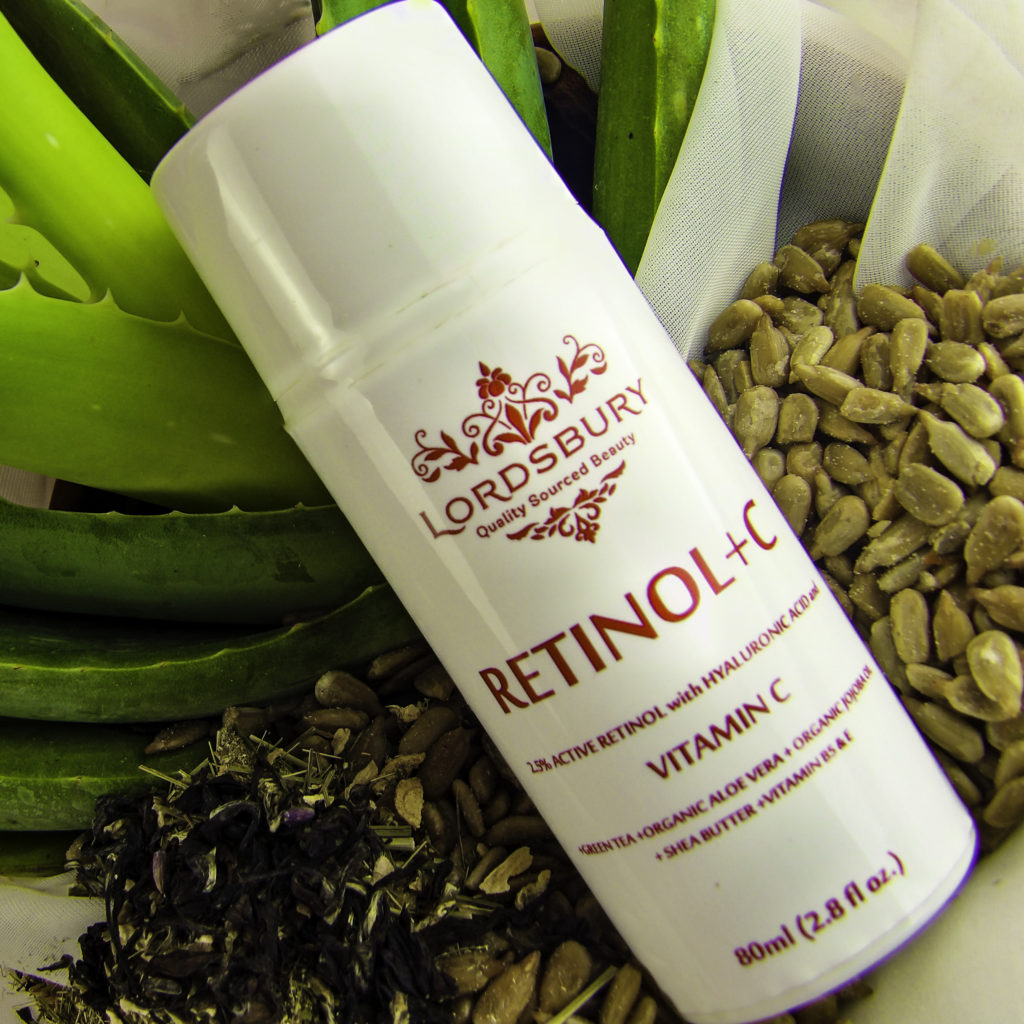 Lordsbury Retinol+C has 2.5% Pure Retinol plus several moisturizers all in one bottle for one step skin care