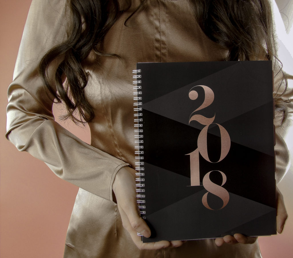The Abrie James Planner cover shades of black, gray and rose compliment my wardrobe