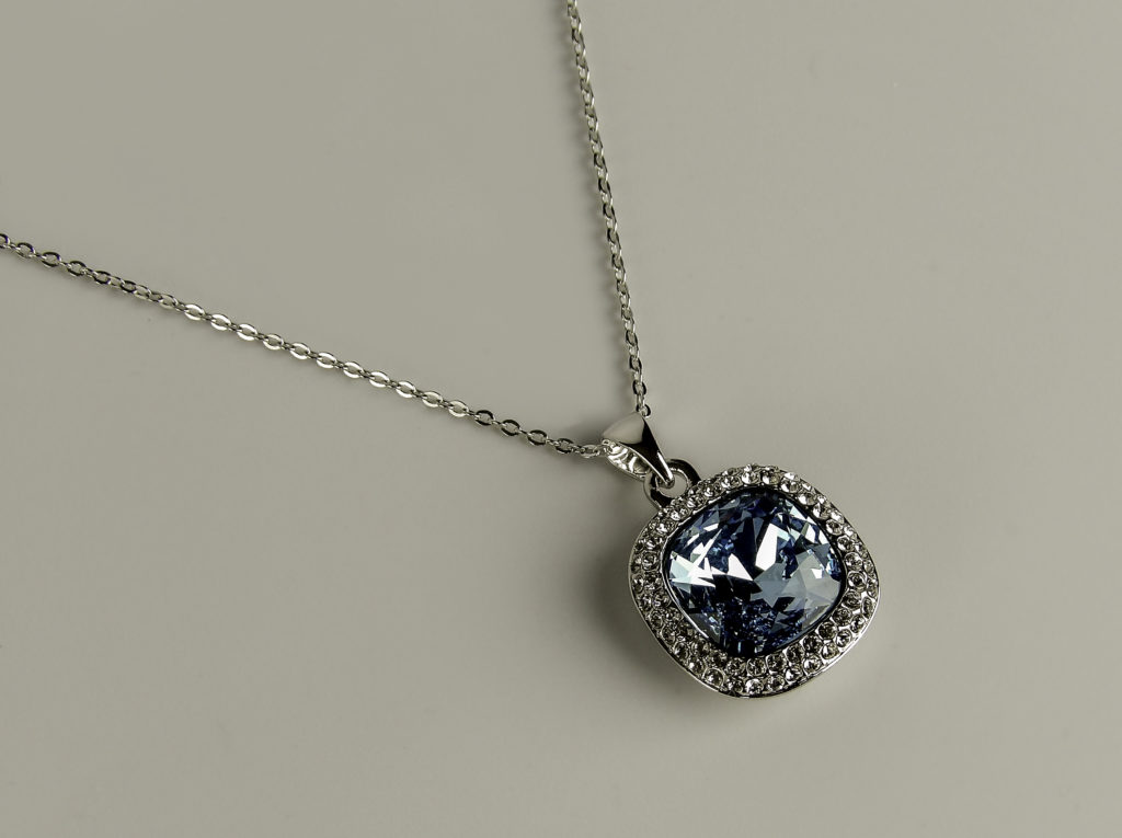 Gem Stone King Pendant with Swarvoski crystal has brilliant sparkle
