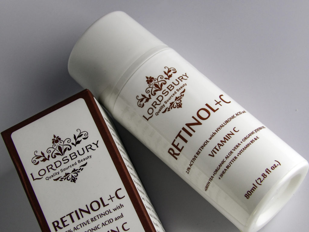 Lordbury Retinol+C Cream Moisturizer comes in a generous 2.8 ounce size pump bottle, and only one pump is needed for face and throat