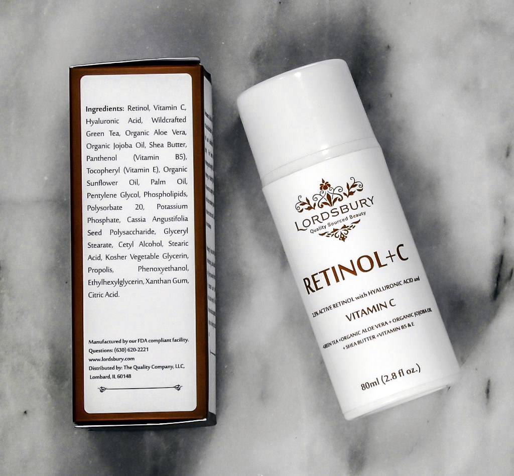Lordsbury Retinol+C Cream Moisturizer contains prescription strength Retinol plus Vitamin C to combat KP, along with Jojoba, Vitamin C and Aloe Vera to soothe irritated skin