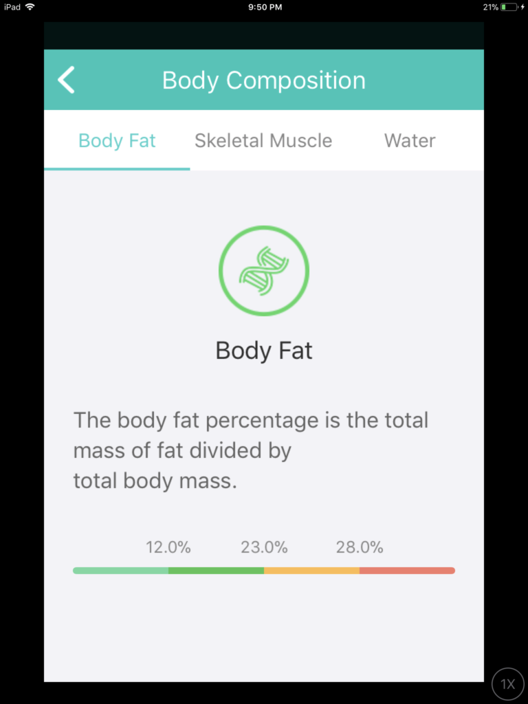 Screenshot: the measure of body fat