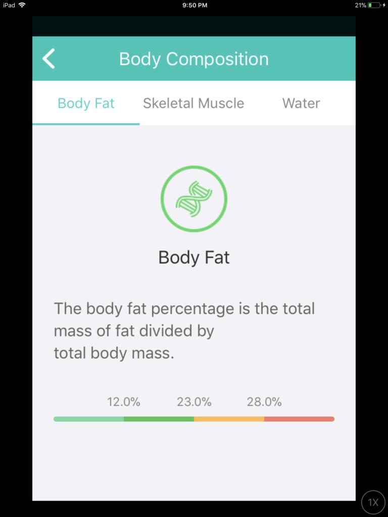 Screenshot: the measure of body fat
