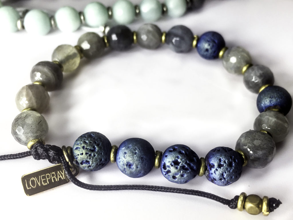 Adjustable length bracelets with durable drop dangle beads