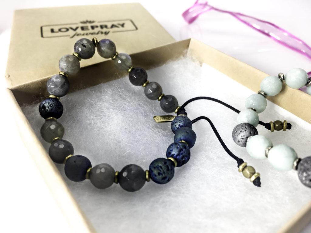 Adjustable bracelet in open LovePray gift box