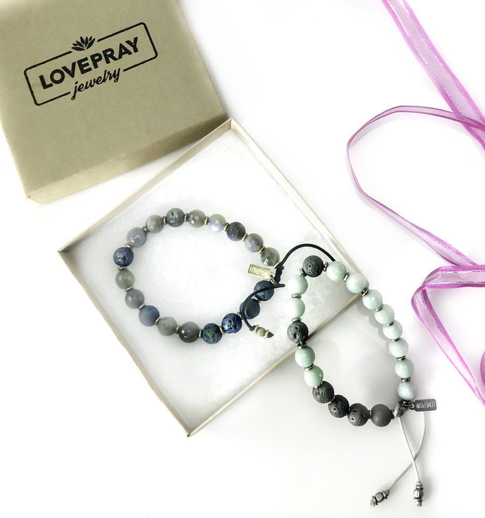 LovePray Essential Oil Adjustible Bracelet with lava beads and ethical gemstones