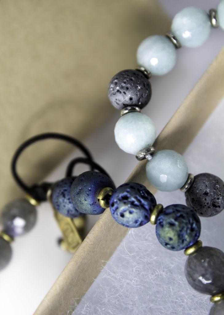 Lava beads and gemstones
