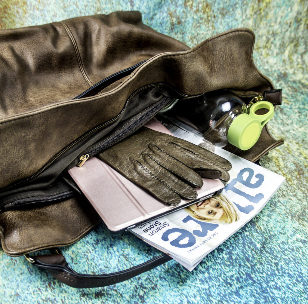 Inside the roomy bag with tablet compartments and plenty of room