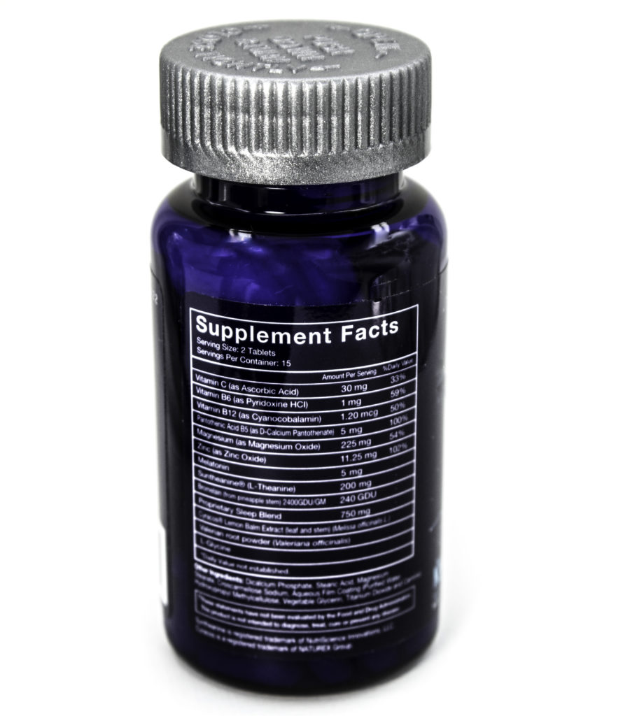 The NoctoPlex Supplement Facts list