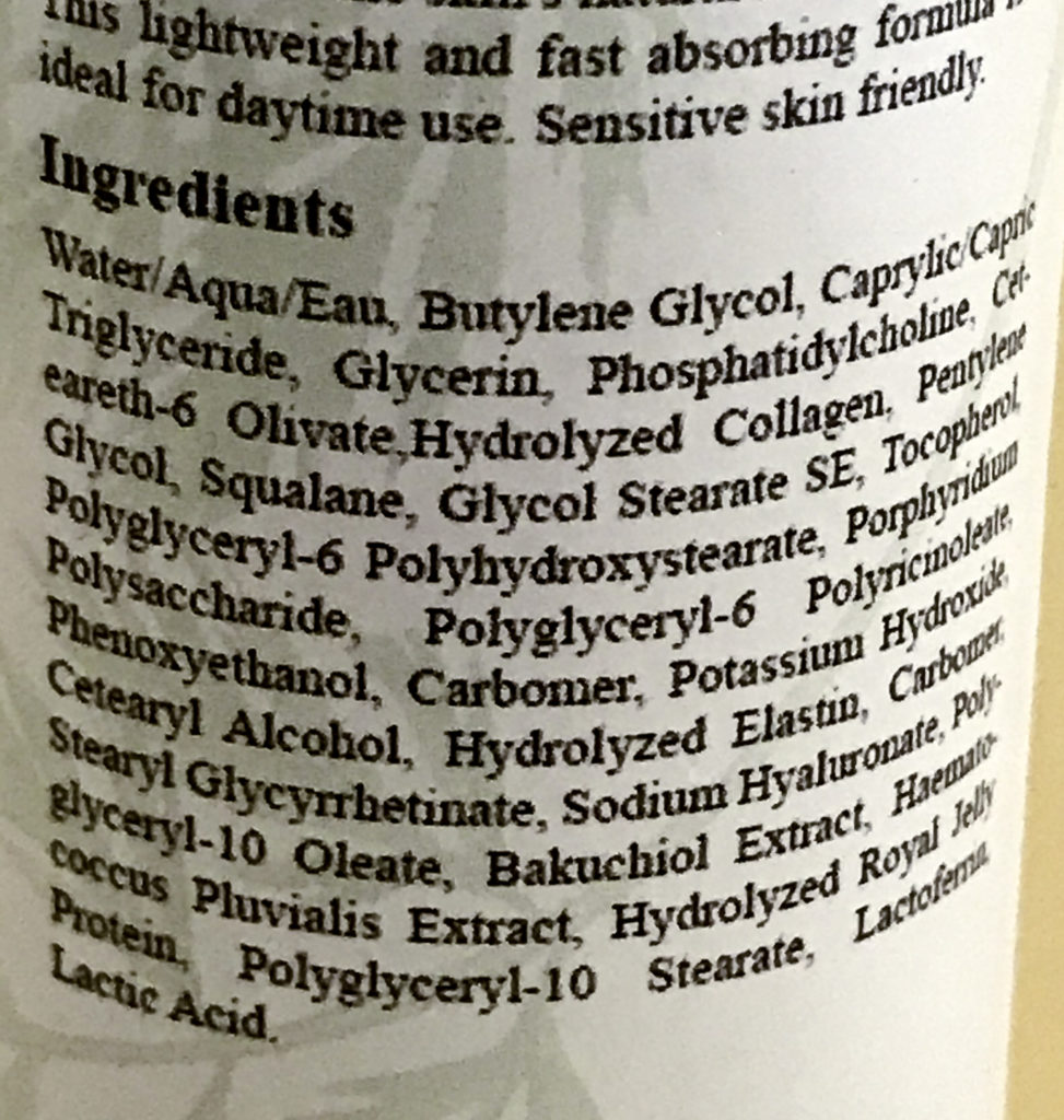 Ingredient list for Morganna's Alchemy 24K Glow