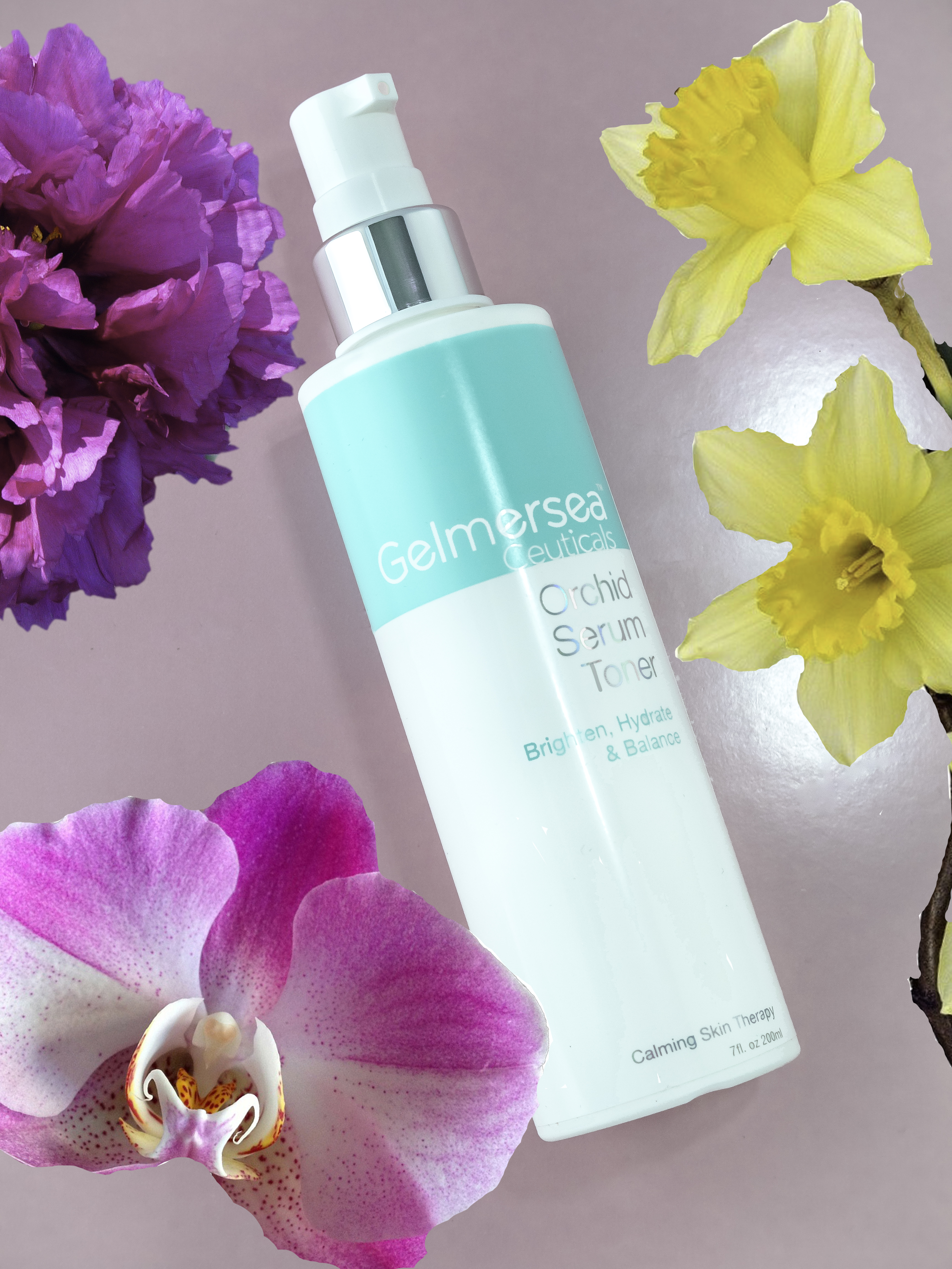 Orchid Serum Toner contains peony extract, orchid, and daffodil extracts