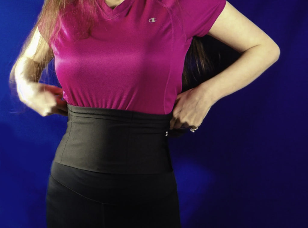 Slip StashBandz on over leggings, yoga pants & jeans