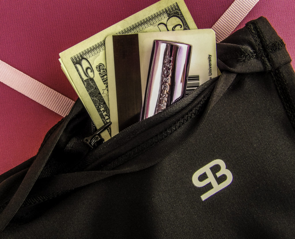 Hide cash and ID in a secure zippered pocket