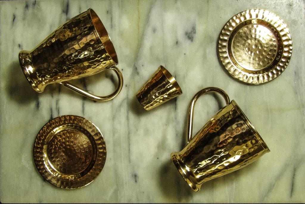 Kamojo Pure Copper Moscow Mule Mugs, coasters, and shot glass