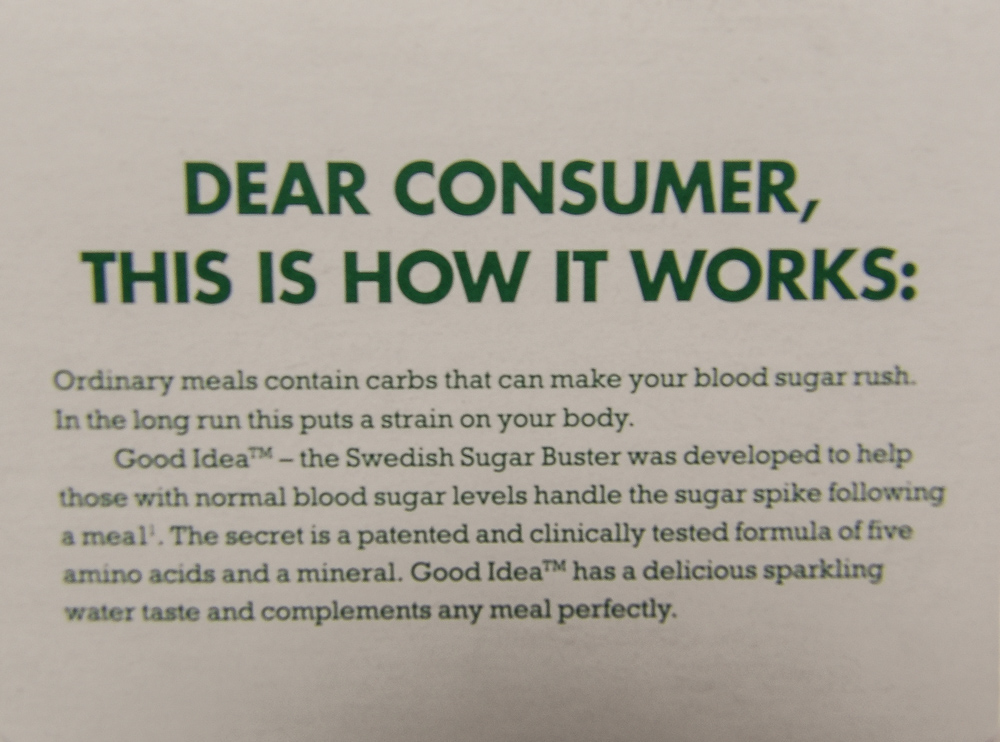 Good Idea packaging packaging information for consumers