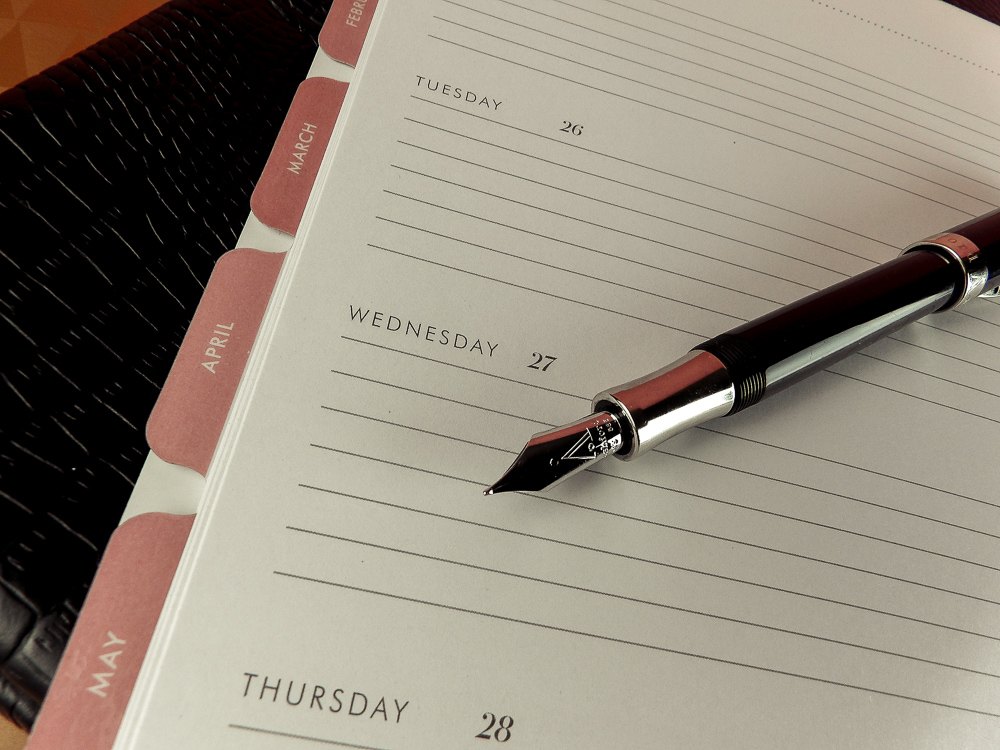 Week at a glance section has ruled lines for detailed instructions or journal entries