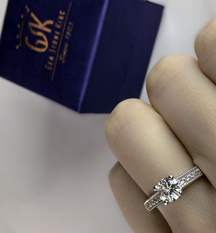 Gem Stone King Moissanite Sterling Silver alternative diamond Engagement Ring