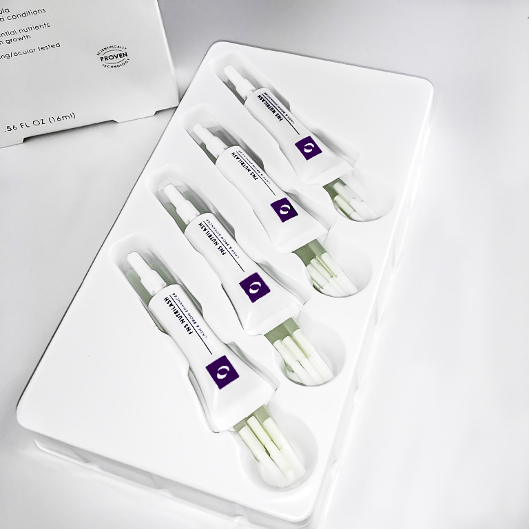 Four tubes and 28 disposable brushes for easy, sanitary use and direct lash application