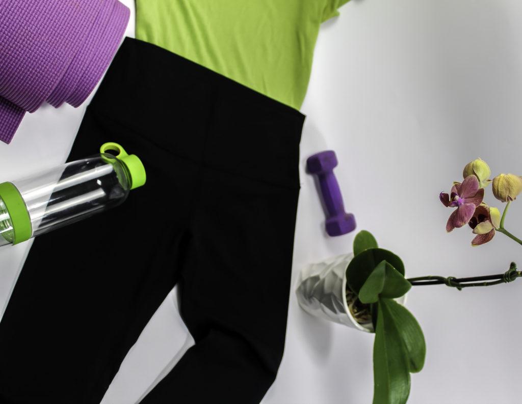 Fantasfit High Waist Yoga Pants shown with yoga mat and gear