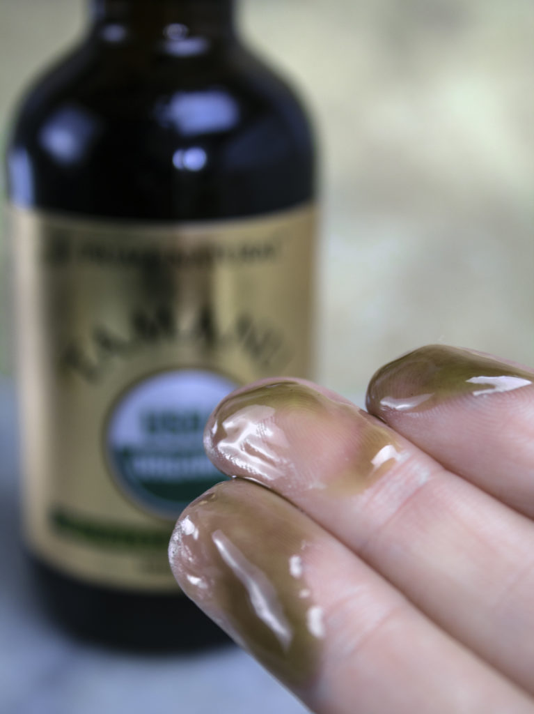Prime Natural Organic Tamanu Oil consistency is thick but spreads easily and applies smoothly