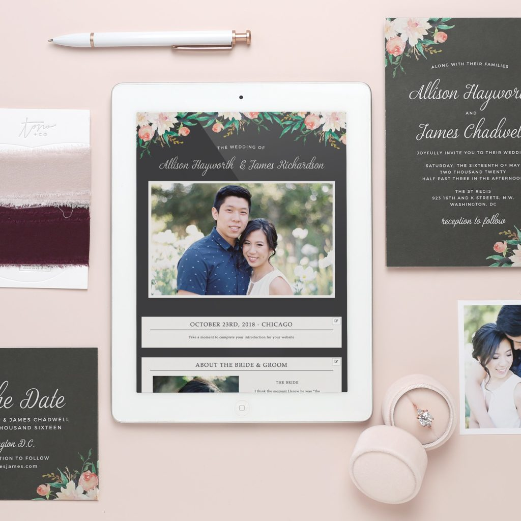 Each website design has matching wedding invites and wedding stationery